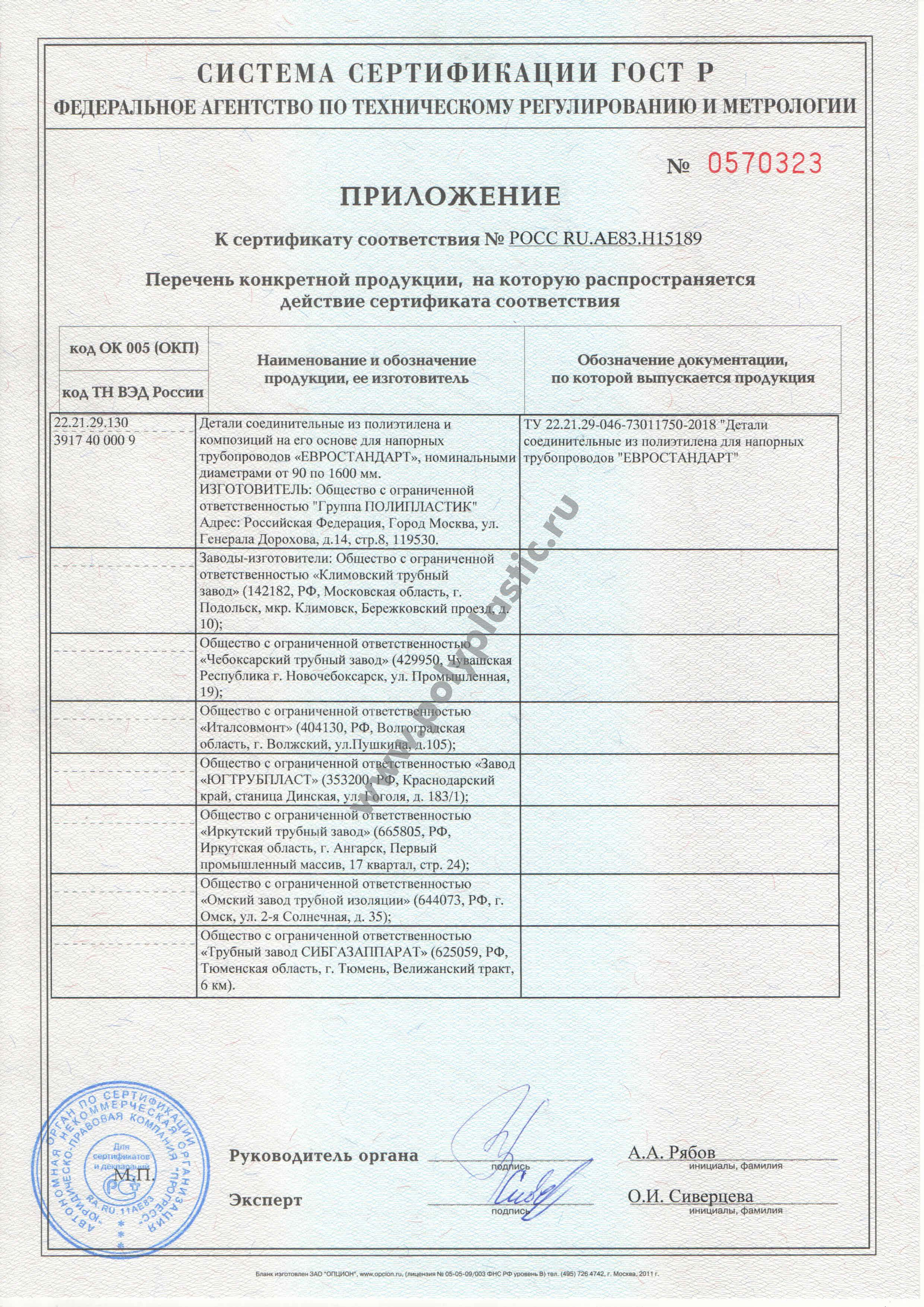 Сертификат ПНД трубы